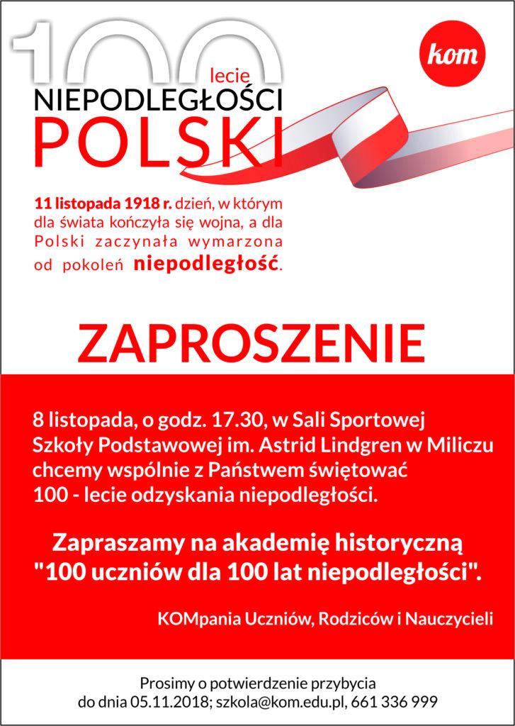 Zaproszenie na obchodzy 100lecia niepodległości